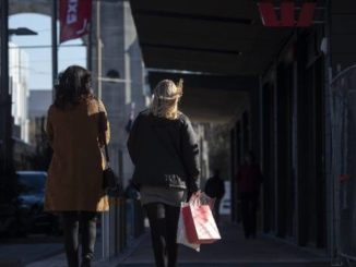 A relatively rare sighting of shoppers in central Christchurch.