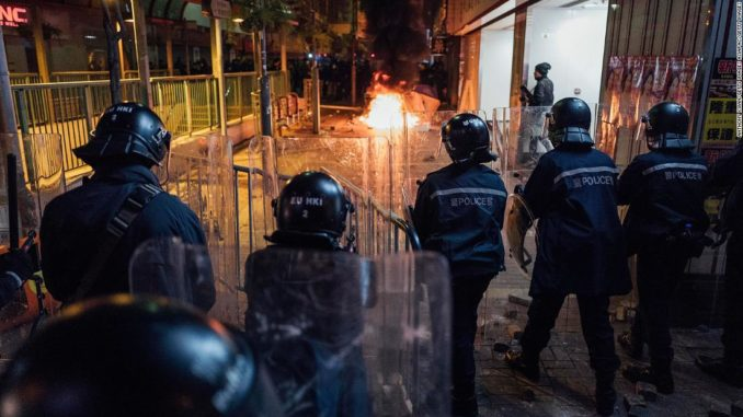 Rioters set fires in Mong Kok district of Hong Kong on February 9, 2016 in Hong Kong.
