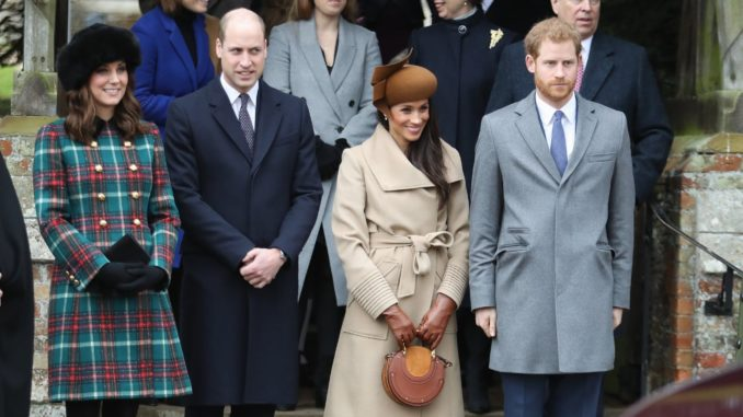 """<p><a href=""""https://www.popsugar.com/celebrity/Prince-Harry-Meghan-Markle-Attend-Christmas-Service-44448539"""" >The first time we saw Harry, Meghan, Kate, and William together</a> was on Christmas day back in 2017. </p>"""