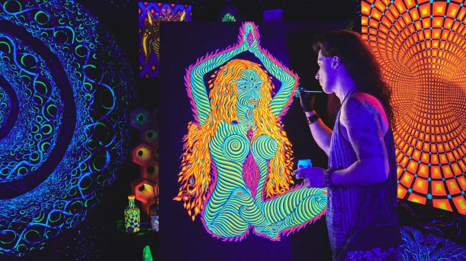 The Cosmic, Psychedelic, Glow-in-the-Dark Art of Alex Aliume