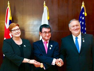 Australian Foreign Minister Marise Payne (L), Japanese Foreign Minister Taro Kono (C), and U.S. Secretary of State, Mike Pompeo (R) (Photo from Marise