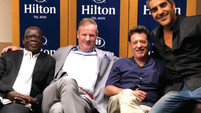 Pascal N'zonzi, Motti Verses, Philippe de Chaueron and Ary Abittan reunite last week in Tel Aviv.